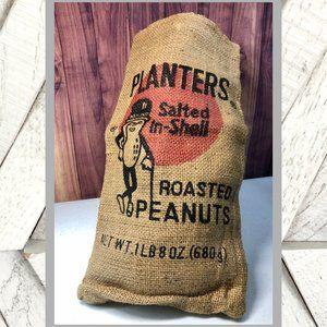 SALE! Vintage Planters Roasted Peanuts Burlap Sack